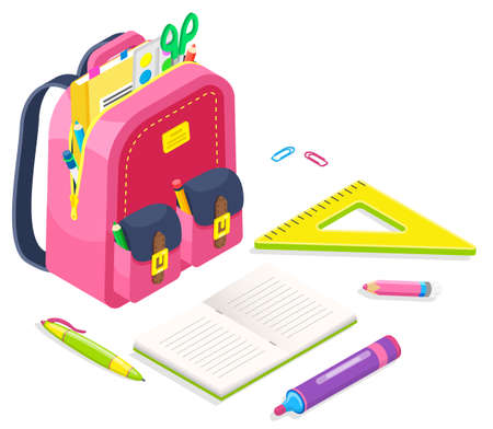 Bag with supplies for lessons vector, back to school concept. Isometric cartoon of pink satchel with scissors and printed material for classes. Textbook and pencil, ruler and eraser with clips in sack