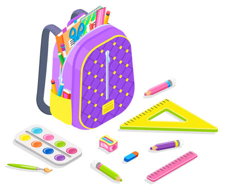 Supplies for lessons vector, back to school concept, satchel with objects for classes. Isometric cartoon of backpack loaded with books, ruler and pencil, pen and eraser with brush and palette