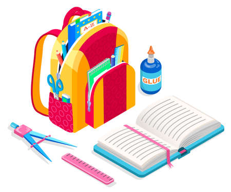 Satchel loaded with supplies for lessons vector, back to school concept. Textbook and glue bottle, scissors in bag and book with bookmark, ruler isometric cartoon. Schoolbag for kids to study