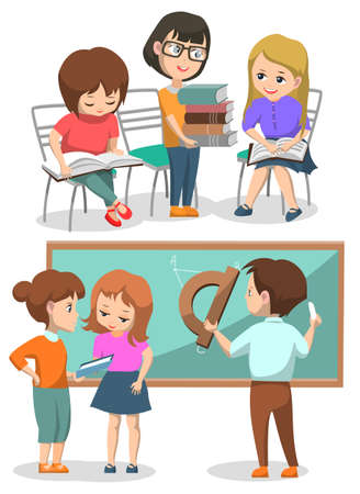 Illustration pour Classmates on lessons vector, boys and girls helping each others. Kid with pile of books reading textbooks, male drawing on geometry lesson, back to school concept. Flat cartoon - image libre de droit
