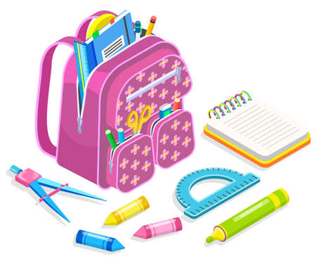 Rucksack with textbooks and notebooks vector, isolated satchel with pencil and pen. Back to school concept isometric cartoon of ruler and pad with spirals. Crayons for drawing on lessons set