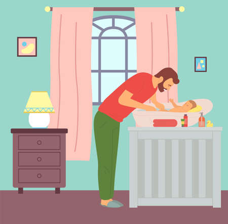 Illustration for Young father bathing kid in baby bath. Dad washing newborn son. Caring and parenting concept. First steps of fatherhood. Chest of drawers with lamp, window with curtains, children s room interior - Royalty Free Image
