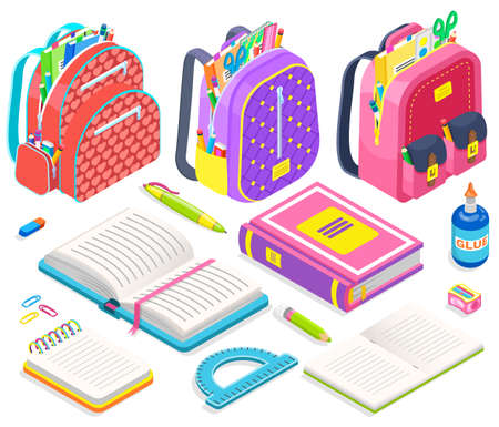 Schoolbag with supplies for classes vector, isolated set of books and pencils, back to school concept. Isometric cartoon of satchels with scissors and glue bottle, ruler and pen sharpener and notebook