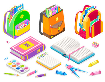 Supplies for college vector, back to school concept. Bags with books, pens and pencils, palette for art lessons. Eraser for mistakes, textbook and ruler, backpack for children isometric cartoon