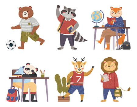 Illustration for Collection of funny animals students. Cute cartoon pupils schoolkids in various situations in the lesson. Characters of forest inhabitants get an education, studying with books, siting at a desk - Royalty Free Image