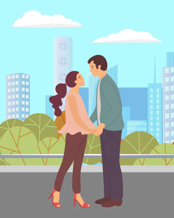Illustration pour Couple walking in a city park. Young guy and girl holding hands, looking into each other s eyes, romantic walk. Lovers man and woman met on a date outdoor. Romantic promenade in the open air - image libre de droit