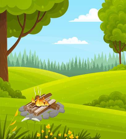 Illustration pour Forest green lawn, burning firewood, bonfire burns, picnic in nature. Deciduous trees, magnificent crown, strip of coniferous forest. Bushes, shrubs, grass, wildflowers. natural landscape Flat image - image libre de droit