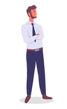Illustration pour Smiling man young businessman dressed in shirt and tie standing crossed his arms over his chest at full height on white. Businessperson male character in formal clothes office worker or employee - image libre de droit
