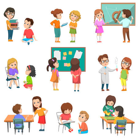 Illustration pour Education vector, isolated set of schoolchildren with teachers. Chemistry and geometry lessons, projects made in pairs, students reading books, back to school concept. Flat cartoon - image libre de droit