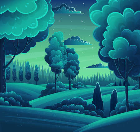 Illustration pour Night in forest, vector cartoon illustration. Hills and tall trees, pine forest on the horizon, lush bushes, clouds in the starry sky. Beautiful nighttime landscape. Green plant and grass rural land - image libre de droit