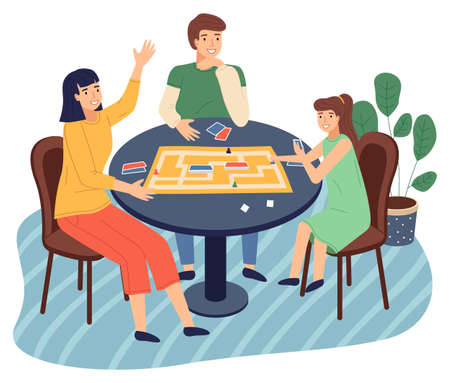 Photo pour Happy family spend time at home. People playing in table game with cards, labyrinth. Mother, daughter, father play together at home. Indoors home activity, hobby. Relationships of parents and kids - image libre de droit
