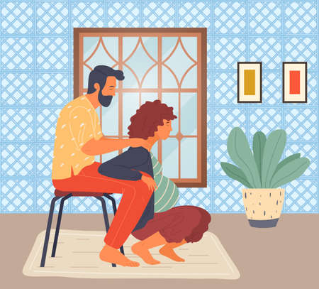 Illustration for Pregnant woman is squatting, her husband on stool holds wife under arms. Woman in long term pregnancy. The husband helps his wife. Cozy home interior, pot plant. Maternity, labor, reproduction, birth - Royalty Free Image