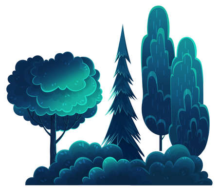 Illustration pour Deciduous and coniferous tall trees, navy blue crown, flat cartoon style isolated on white. Forest trees, lush foliage. Oak, spruce, hornbeam, diverse vegetation. Botanical illustration for sites - image libre de droit