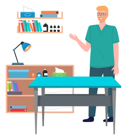 Illustration for Veterinary care. Veterinarian doctor male character in the medical office. Doctor in a medical room with special equipment, shelves with medicines and books. Smiling man in veterinarian clothes - Royalty Free Image