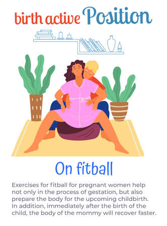 Illustration pour Birth active position on fitball, man help pregnant woman during birth pains, female with belly spread legs wide, comfortable posture for birthing, useful poster or banner with text information - image libre de droit