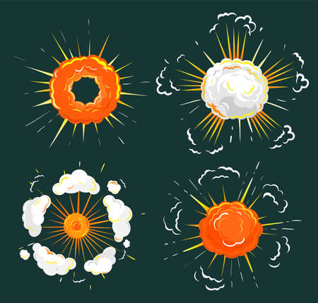 Collection of explosions, isolated icons set. Outbreak or blast with fume and fire. Flame and smoke caused by eruption or burst of energy. Fireball flaming spheres. Vector in flat style illustration