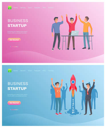 Illustration for Men winners, teamwork success, workers standing together with rising hands, strategy of company, technology and laptop, business startup vector. Website or webpage template, landing page flat style - Royalty Free Image