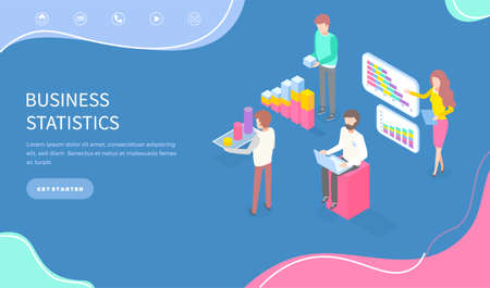 Illustration pour Expert team for business statistic, data analysis, management and marketing department. Landing page template. Financial administration consulting for company performance analyzis concept statistics - image libre de droit