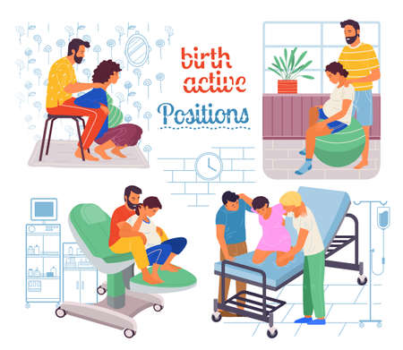 Illustration for Pregnancy preparing, wife and husband make a position check in different poses. Exercising for pregnant woman, giving birth position or posture. Female character waiting for childbirth with caring man - Royalty Free Image