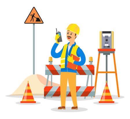 Illustration for Builder engineer phone calling on construction. Foreman in helmet business communication concept, man talking on the walkie-talkie standing near the barrage equipment and the road repair sign - Royalty Free Image