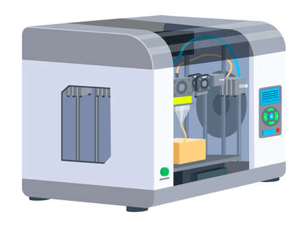 Illustration for Industrial 3D printer prints a box concept. Print house equipment, digital model of a volumetric product. Modern print technologies, empty operator workplace with printing machine isolated on white - Royalty Free Image
