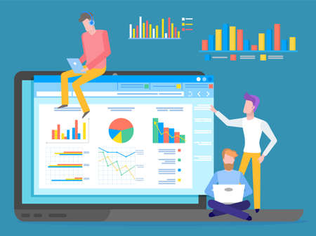 Illustration pour Programmers, coders or businessmen analysing data, chart, graphics, infographics at website. Man wearing headphones with digital tablet, young guy with laptop, man looking at screen, graphic charts - image libre de droit