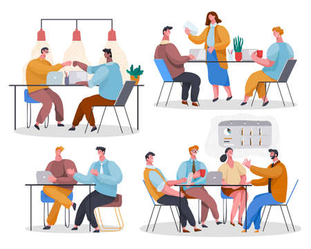 Set of office staff. Woman reading document. Colleagues give 5 at desktop. Employees discuss project. The team listens to leader, communicate, chat, gossip. Cartoon vector characters in office