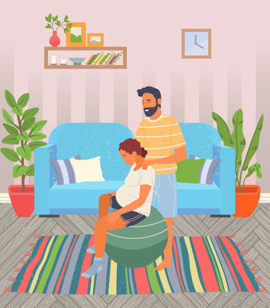 Illustration for Birth position pose for pregnant woman, female sitting at fitball, husband help wife to relax making massage of shoulders, comfortable posture for birthing, man support mother during birth pains - Royalty Free Image
