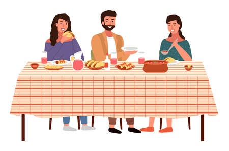Illustration pour Characters eating mexican cuisine dishes. People dinner at home isolated on white. Dining table with tacos and burritos. Family with mexican food on the table. Relatives communicate together - image libre de droit
