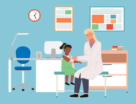 Illustration pour Podiatrist bandages girl s hand. Person on consultation with the orthopedic doctor. Orthopedist treats a child in hospital. Children s doctor works with little female character vector illustration - image libre de droit