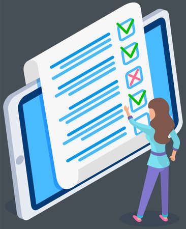 Illustration pour Teenager studying questionnaire. Female character checks and grades exam on tablet screen. Woman touching sheet of paper with answers. Character stands near big checklist. Girl stands and studies form - image libre de droit