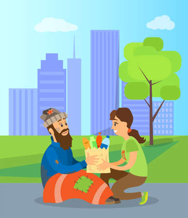 Illustration for Volunteer helping homeless person with food and drinks. Vector social worker and poor man, beggar or jobless guy, unemployed bearded male and woman giving donations - Royalty Free Image