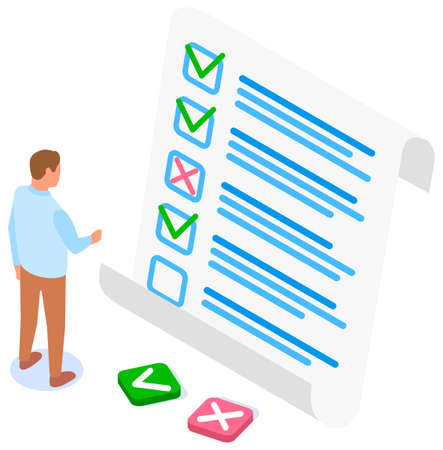Illustration pour Man studying questionnaire. Businessman makes choice between buttons. Exam assessment concept. Cartoon character standing near big checklist and summarizing results. Guy studies form with answers - image libre de droit