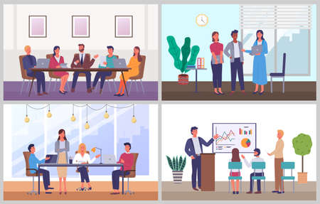Illustration pour Business characters working at workplaces at the table with computers, communicating at a meeting - image libre de droit