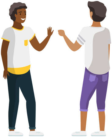 Illustration pour Two young people speaking together. Scene of dialogue between men. Multinational guys are discussing - image libre de droit