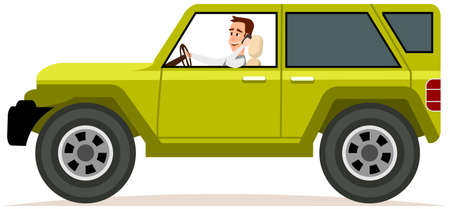Illustration for Bearded guy is driving vehicle and using his smartphone. Crossover, SUV, cross country car, jeep - Royalty Free Image