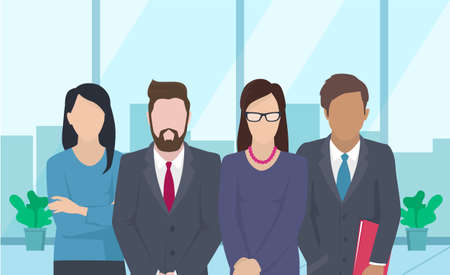 Illustration pour Business team ready to work. Teamwork. Coworkers characters communication. Team building and business partnership. Businessmen people cooperation collaboration. Office workers clerks standing together - image libre de droit