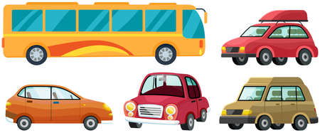 Illustration for Modern automobile and yellow traveler bus set. Minivan or multi purpose vehicle isolated on white. Convenient mean of transportation, modern model of car. Economical family car, tourist autocar - Royalty Free Image