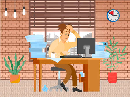 Illustration pour Tired businessman in pile of office papers and documents trying to finish work on deadline. Stress and difficulties at work. Male office employee is working with computer to deal with deadlines - image libre de droit