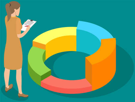 Illustration for Visualize with business analytics. People work with statistical data analysis, changing indicators. Employees analyze statistical indicators, business data. Characters work with marketing research - Royalty Free Image