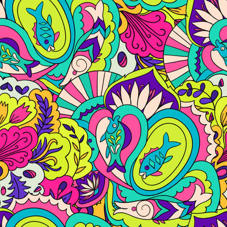 Illustration pour Seamless pattern with colorful abstract and floral elements. Vector illustration - image libre de droit
