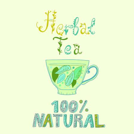Illustration pour Hand drawn vector cup with herbal tea. Vector illustration - image libre de droit