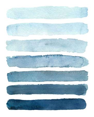 Illustration pour Set of blue gradient watercolor samples. Vector illustration - image libre de droit
