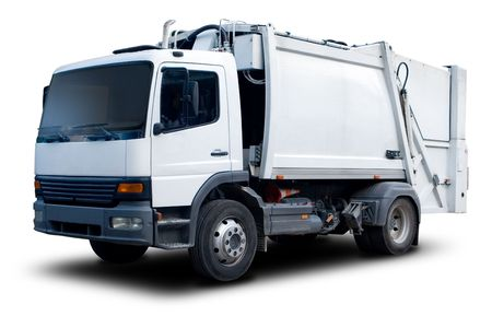 White Garbage Truck Isolated with drop Shadow