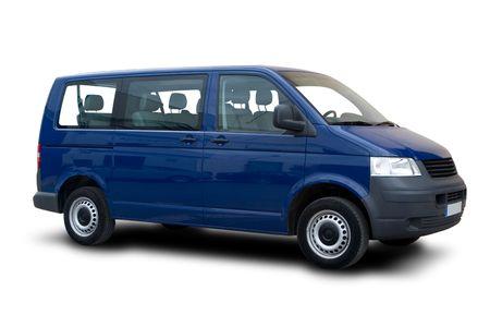 A Blue Passenger Van Isolated on White