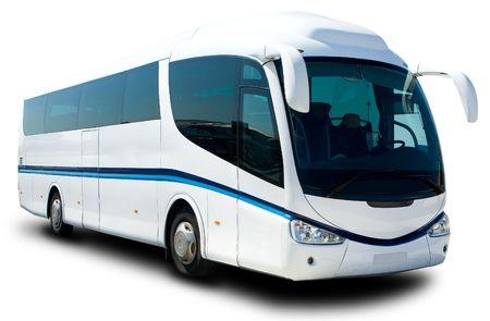 Foto de A Big White Tour Bus Ready for Tourist - Imagen libre de derechos