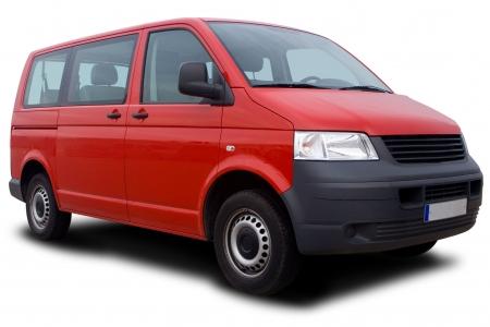 Big Red Passenger Van Isolated on White