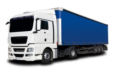 Photo pour White Blue Semi Truck with Isolated Background - image libre de droit