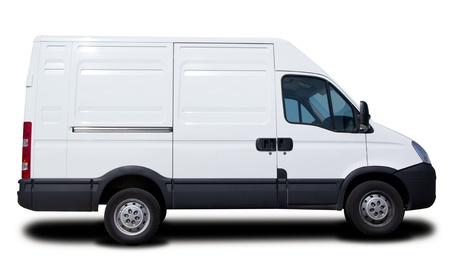 Big White Cargo Van Isolated