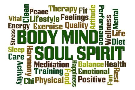 Photo pour Body Mind Soul Spirit word cloud on white background - image libre de droit